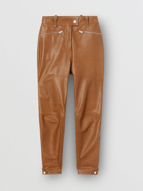 Biker Leather Trousers in Brown