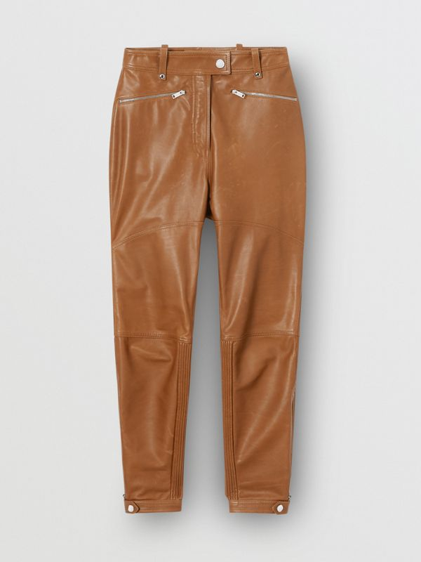 Biker Leather Trousers in Brown - Women | Burberry United Kingdom - cell image 3