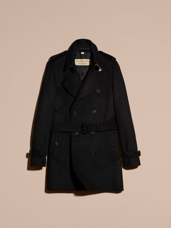 Black Wool Cashmere Trench Coat Black - cell image 3