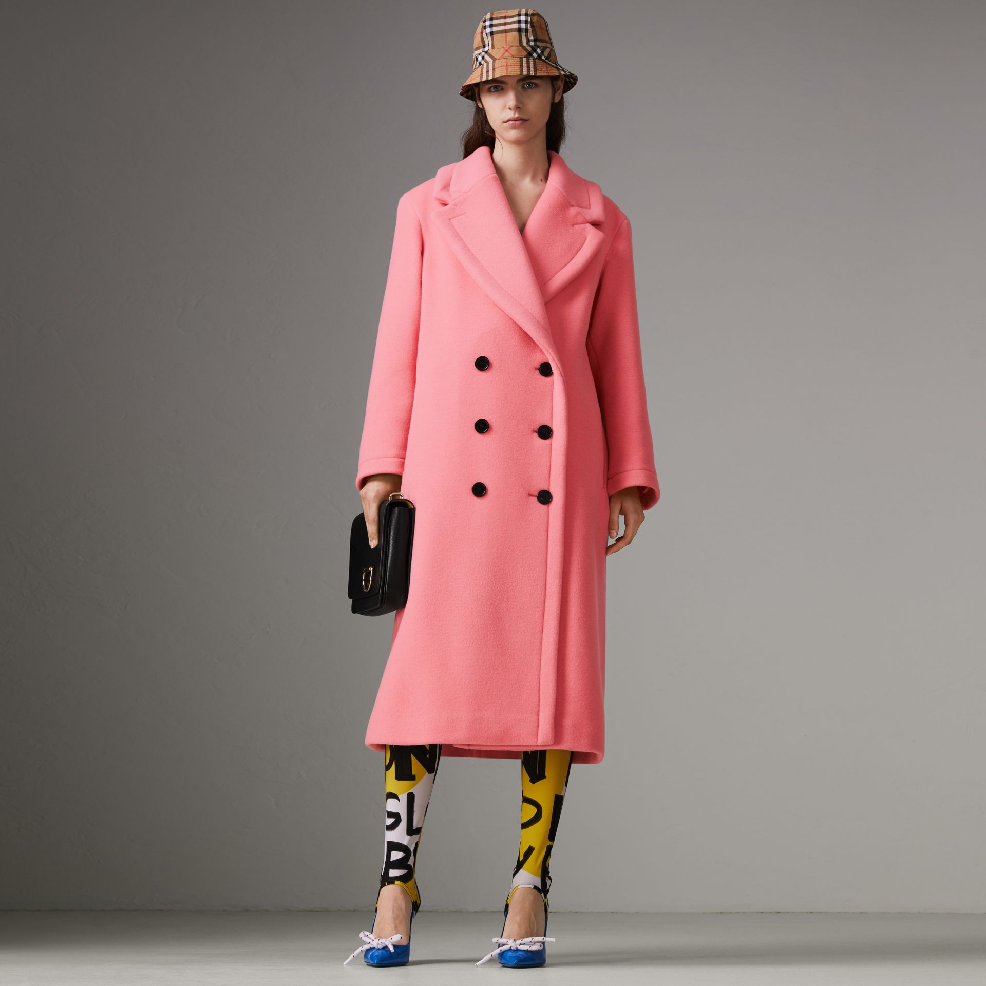 Double-faced Wool Cashmere Oversized Coat in Bright Coral Pink | Burberry - gallery image 0