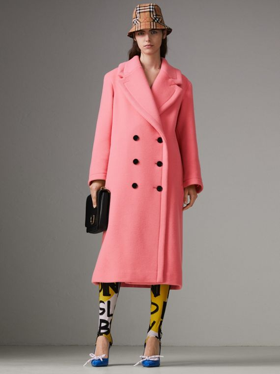 Пальто из двусторонней шерстяной ткани (Ярко-розовый Коралл)