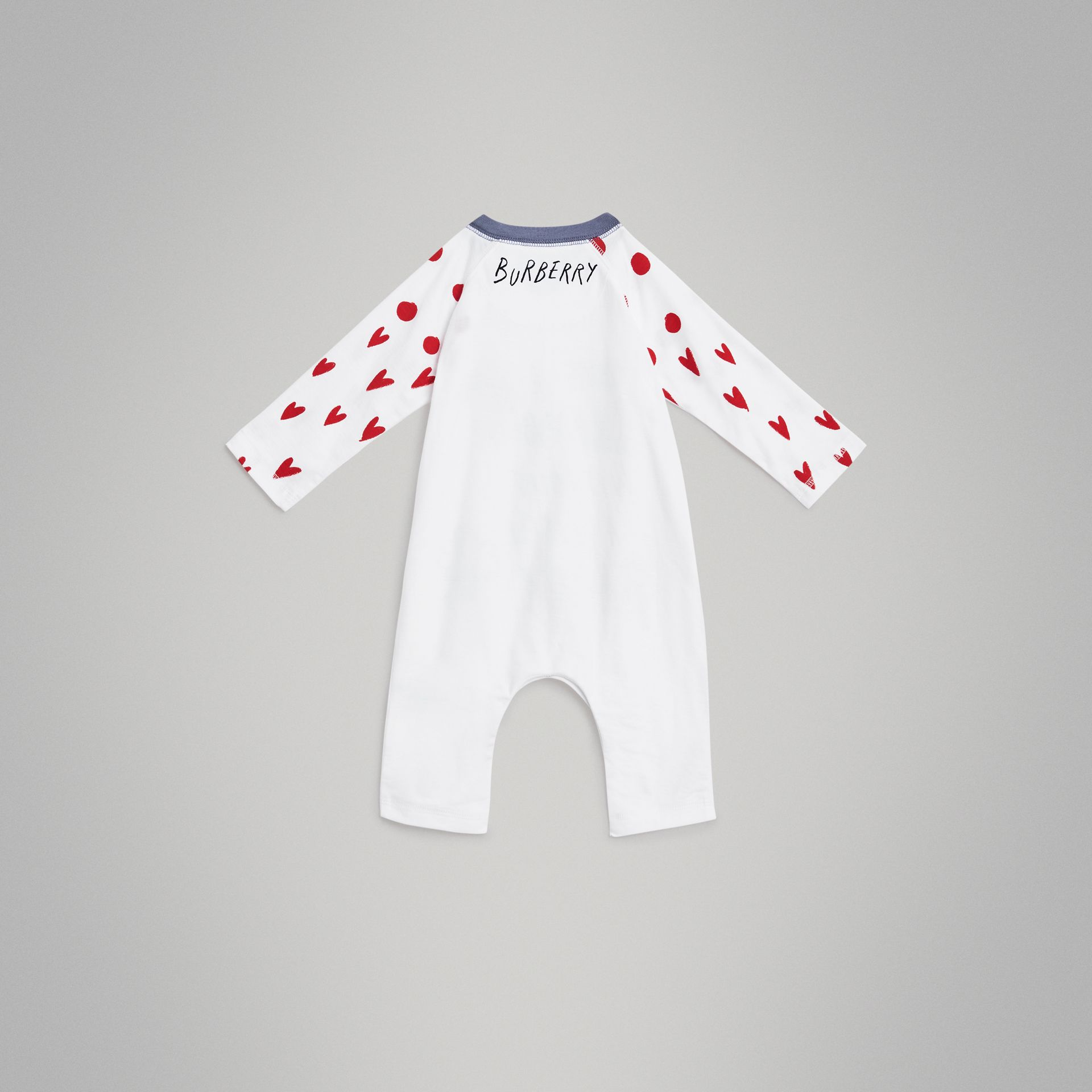 Weather Graphic Cotton Jumpsuit in White - Children | Burberry - gallery image 3