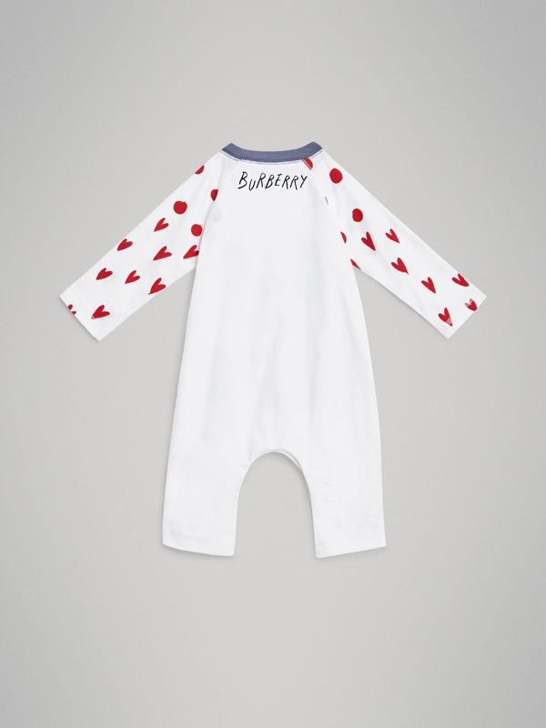 Weather Graphic Cotton Jumpsuit in White - Children | Burberry United Kingdom - cell image 3