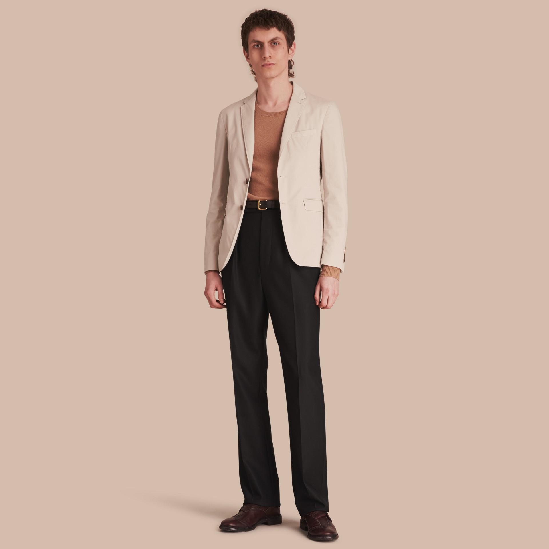 Slim Fit Stretch-cotton Blazer Sand - gallery image 1