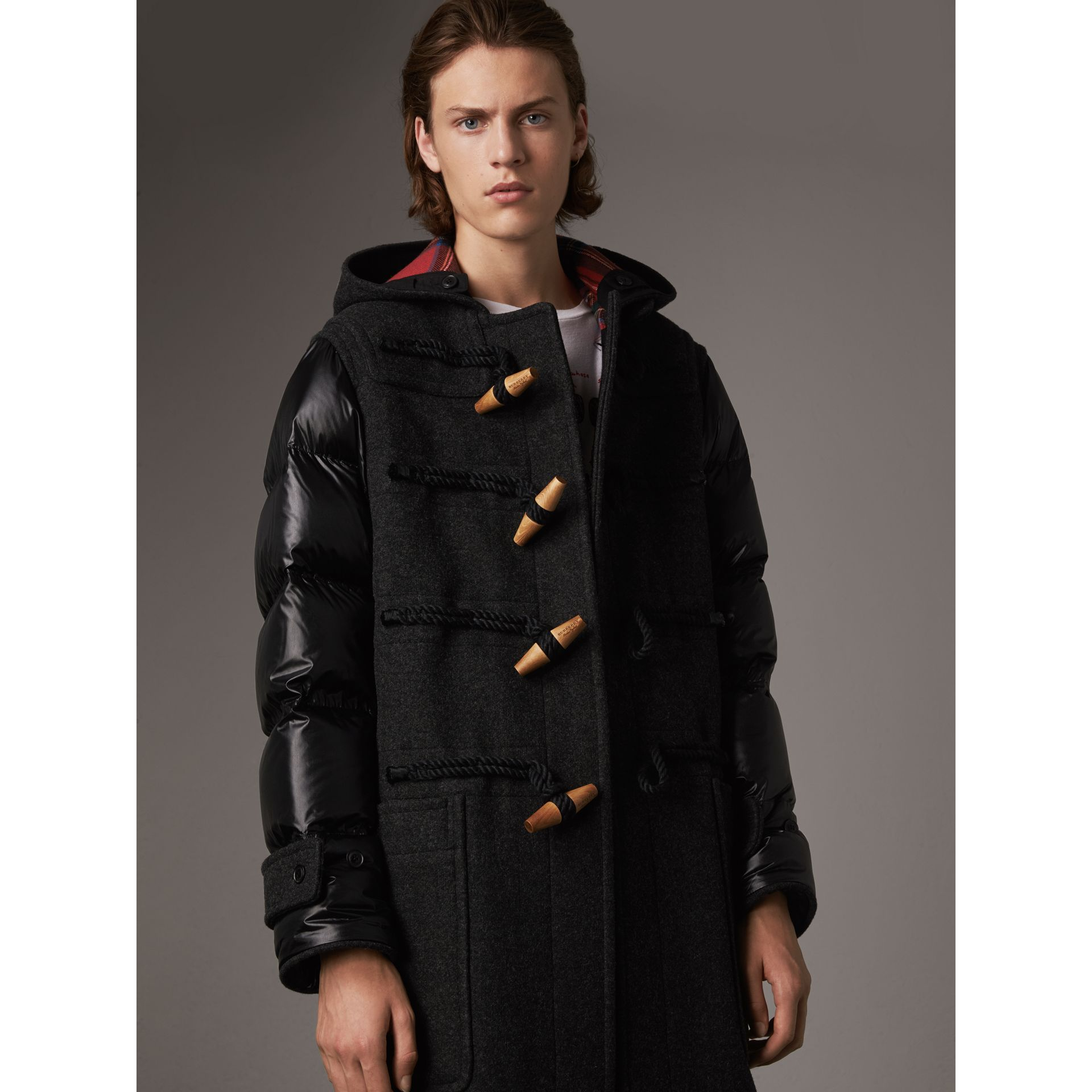 Down-filled Sleeve Wool Blend Duffle Coat in Dark Charcoal Melang - Men | Burberry - gallery image 6