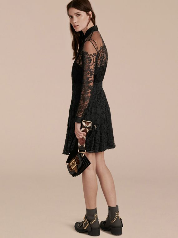 Black Lace Shirt Dress - cell image 2