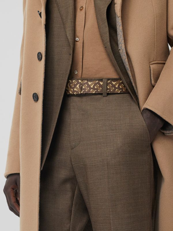 Monogram Print E-canvas Belt in Bridle Brown - Men | Burberry United Kingdom - cell image 2