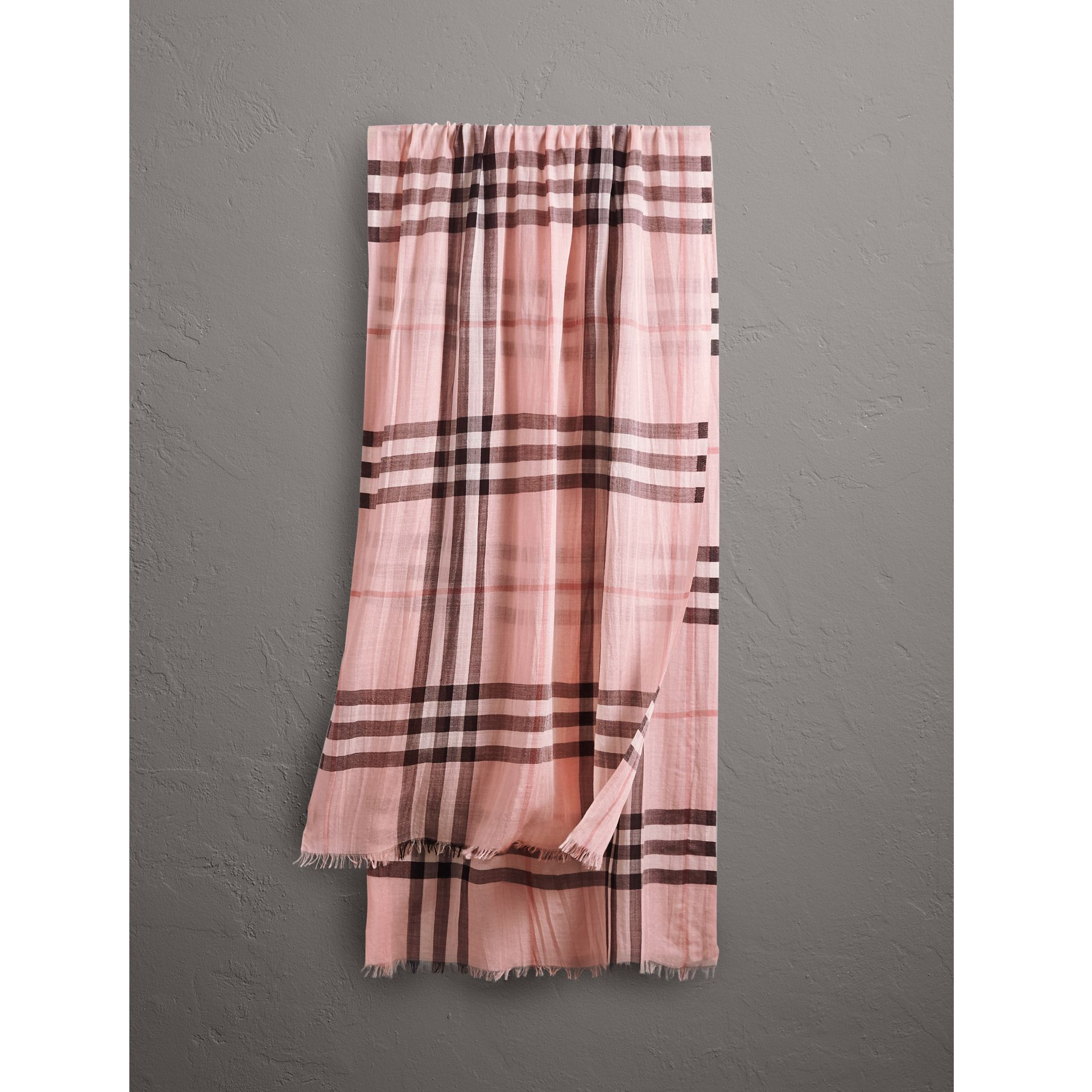 Lightweight Check Wool and Silk Scarf in Ash Rose | Burberry United States - gallery image 0