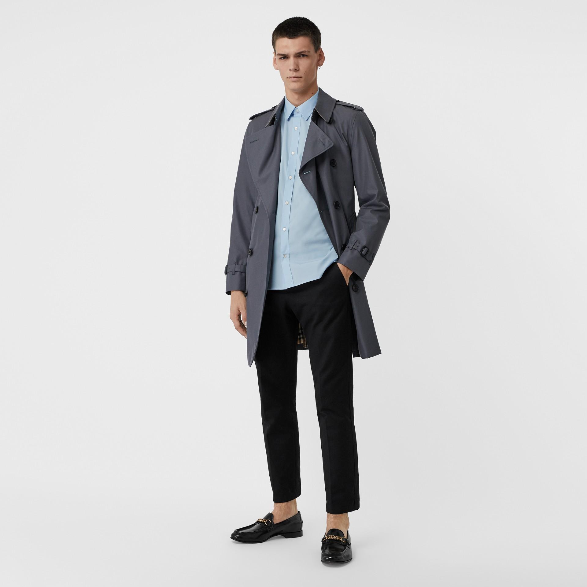 Camicia in popeline di cotone stretch (Blu Pallido) - Uomo | Burberry - immagine della galleria 5