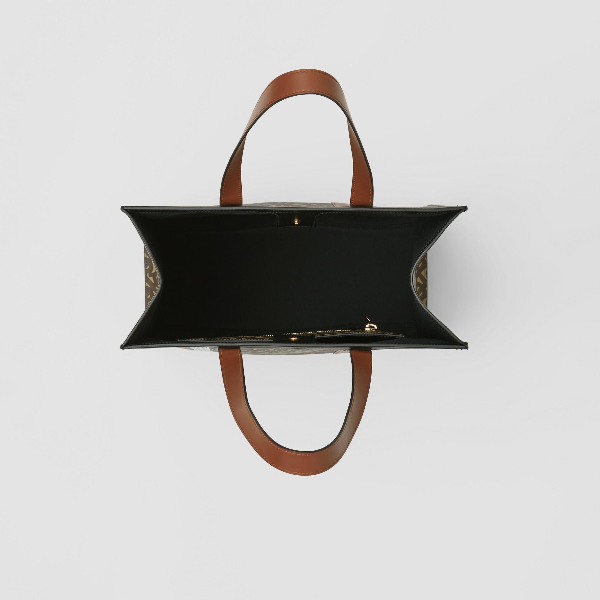 Bolsa tote de lona ecológica com listras e monograma (Castanho Couro) - Mulheres | Burberry - galeria de imagens 5