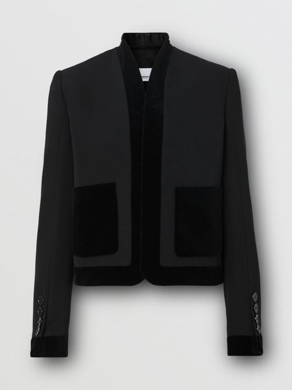 Veste tailleur en laine avec ornements en velours (Noir)