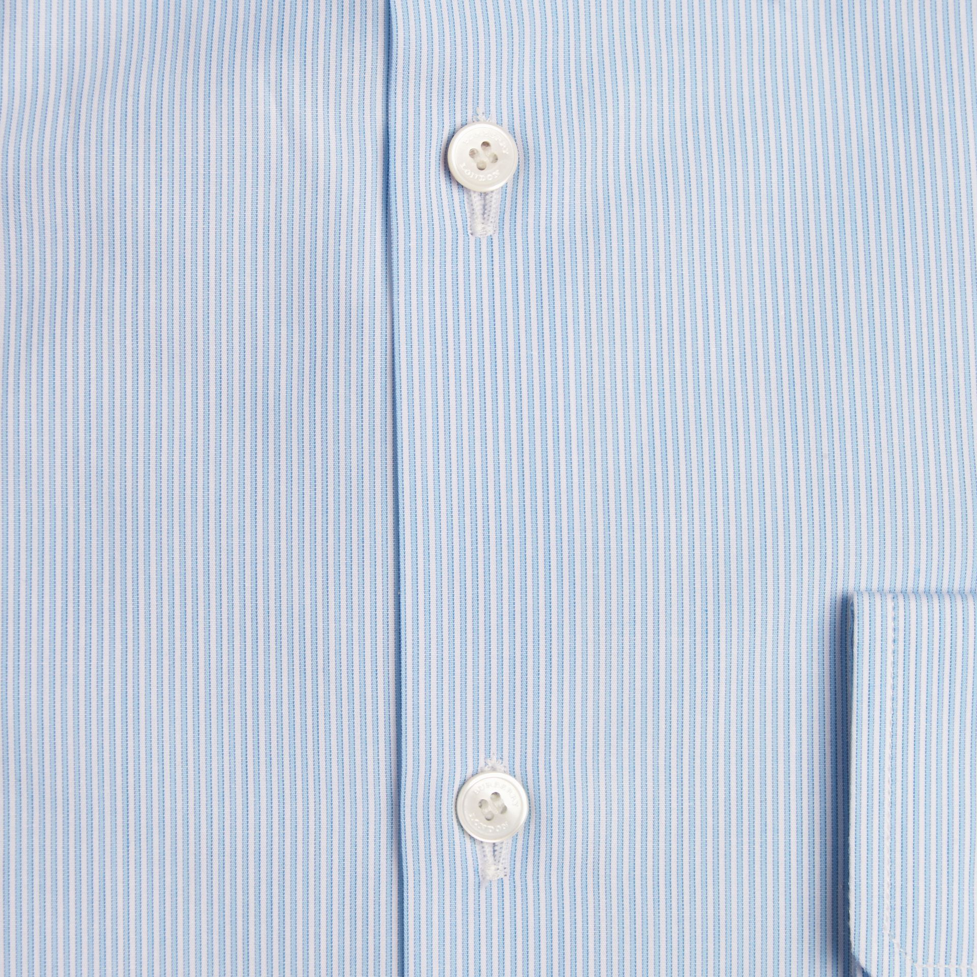 Modern Fit Striped Cotton Poplin Shirt in City Blue - Men | Burberry - gallery image 2
