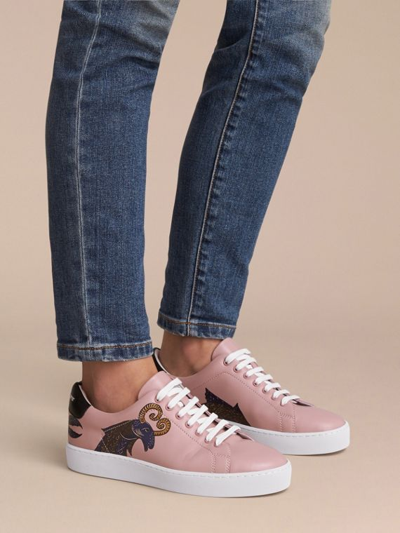 Beasts Print Leather Trainers in Ivory Pink - Women | Burberry - cell image 2