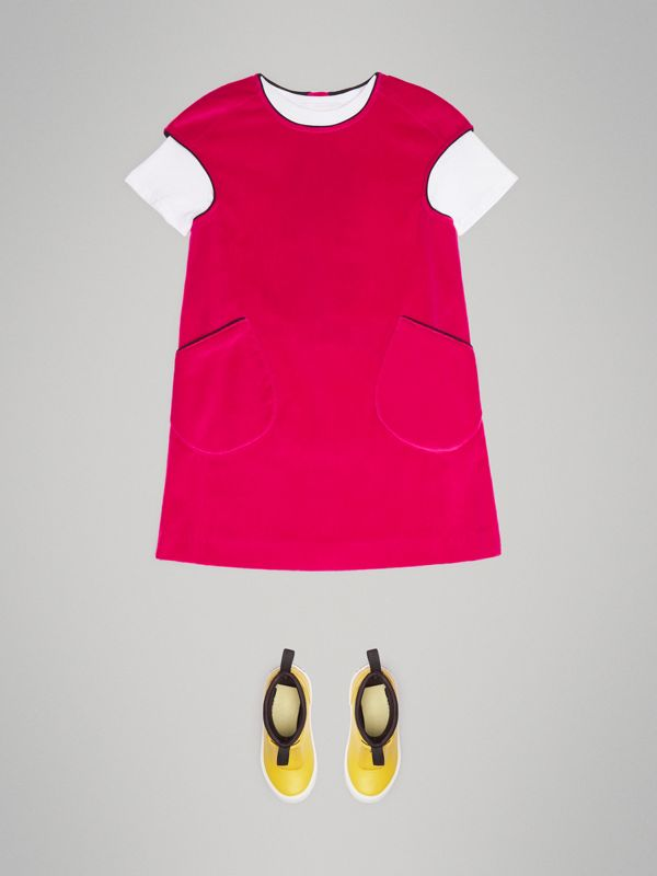 Piping Detail Velvet Shift Dress in Raspberry | Burberry - cell image 2