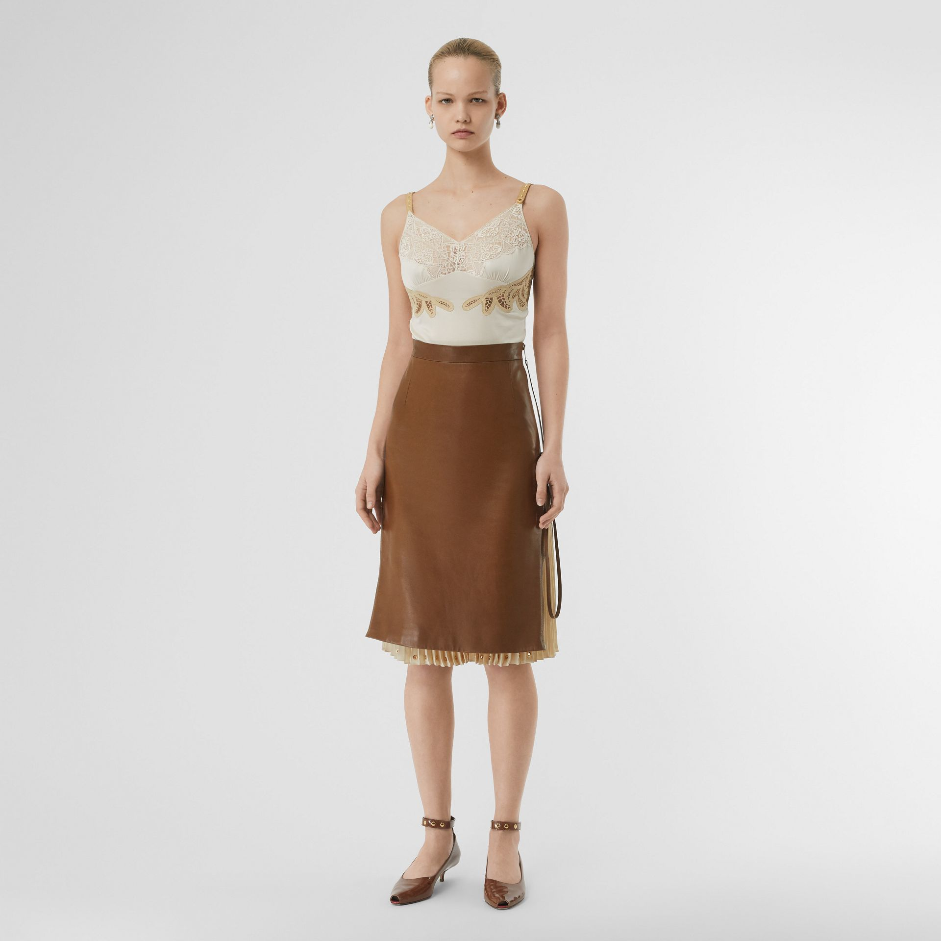 Double Zip Lambskin Skirt in Brown - Women | Burberry United Kingdom - gallery image 0