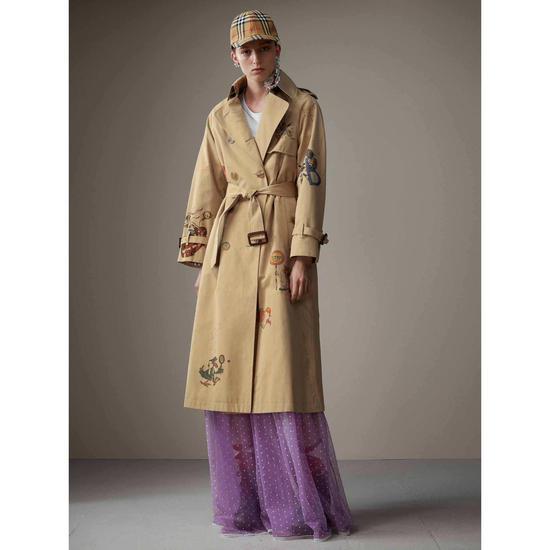Sketch Print Tropical Gabardine Trench Coat in Honey - Women | Burberry - gallery image 7