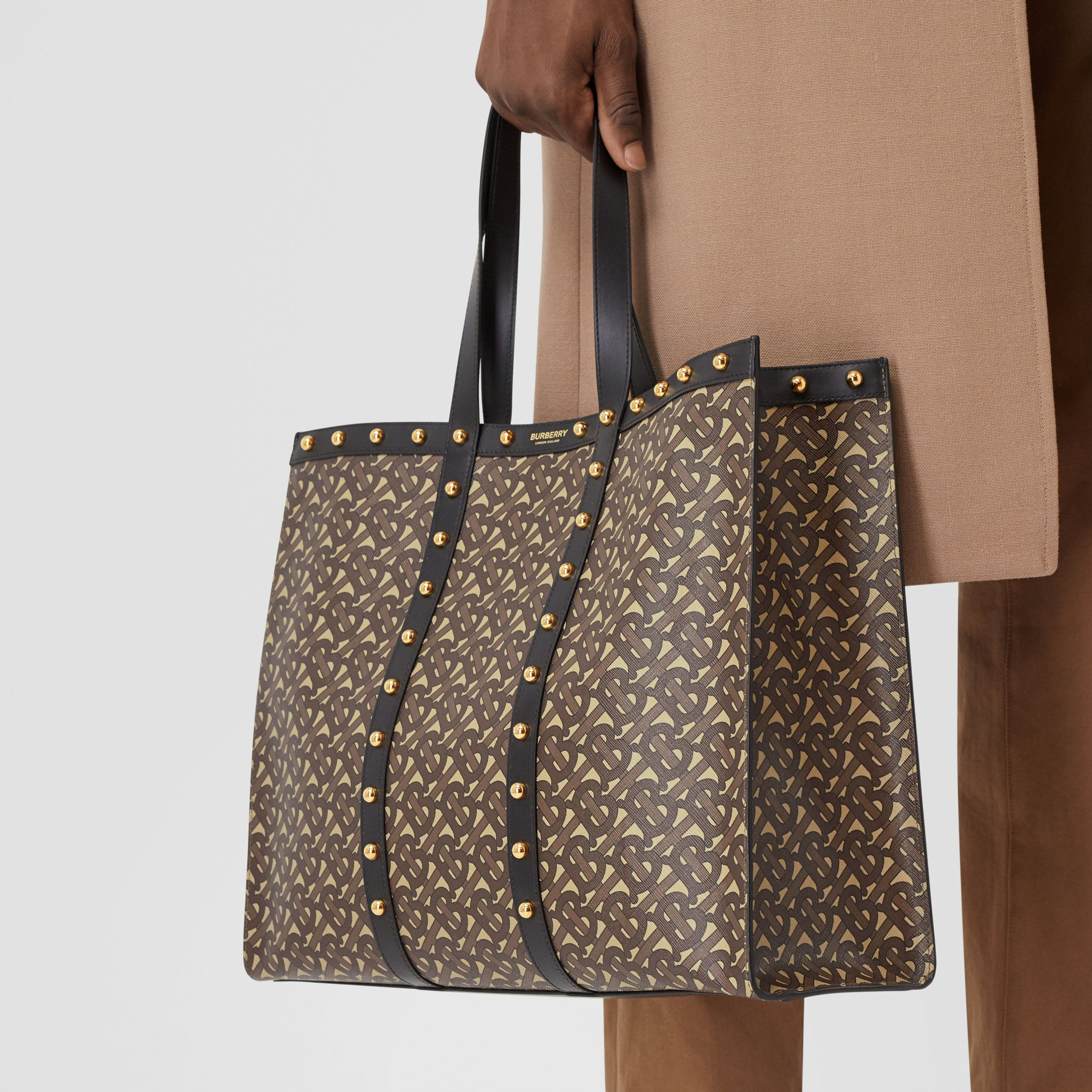 Monogram Print E-canvas Tote Bag in Black | Burberry Australia - 4