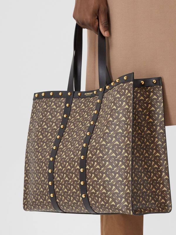 Monogram Print E-canvas Tote Bag in Black | Burberry - cell image 3