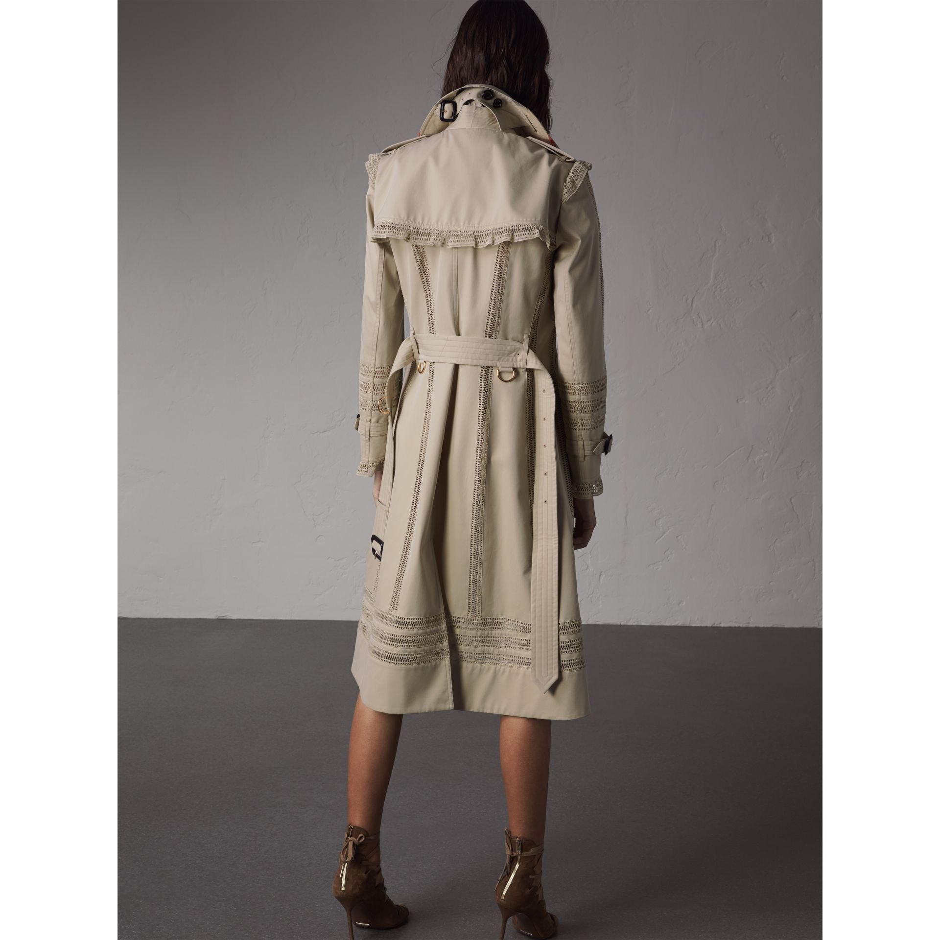 Lace Detail Cotton Gabardine Trench Coat - Women | Burberry - gallery image 3