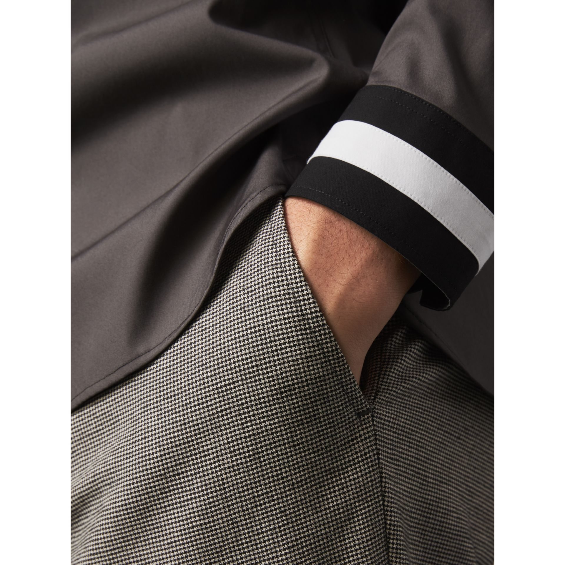 Striped Cuff Stretch Cotton Shirt in Stone Grey - Men | Burberry United Kingdom - gallery image 1