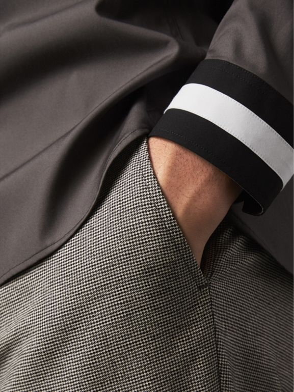 Striped Cuff Stretch Cotton Shirt in Stone Grey - Men | Burberry - cell image 1