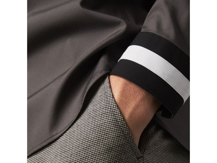 Striped Cuff Stretch Cotton Shirt in Stone Grey - Men | Burberry Hong Kong - cell image 1
