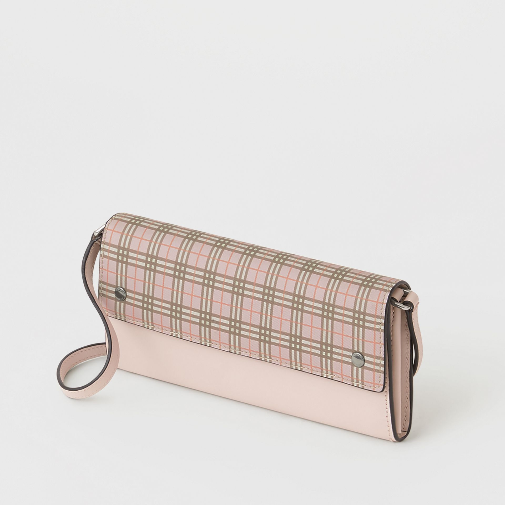 Small Scale Check Wallet with Detachable Strap in Ice Pink - Women | Burberry United States - gallery image 2