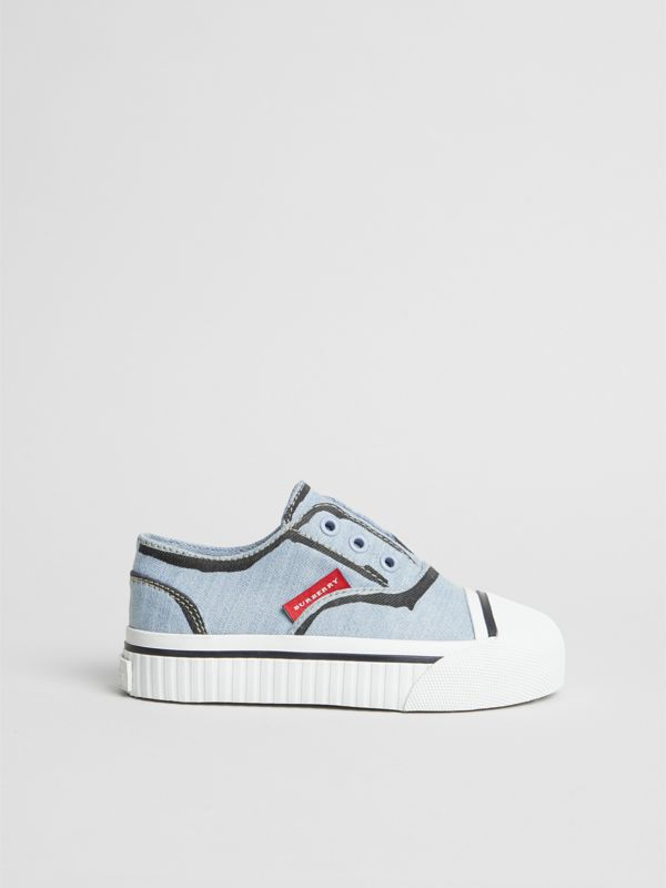Scribble Print Slip-on Sneakers in Light Blue - Children | Burberry United Kingdom - cell image 2