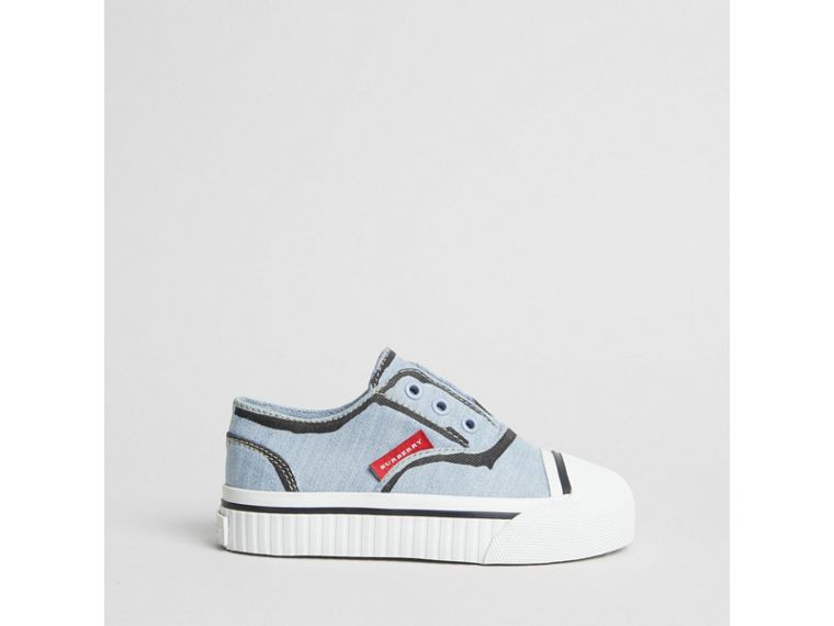 Scribble Print Slip-on Sneakers in Light Blue | Burberry Singapore - cell image 2