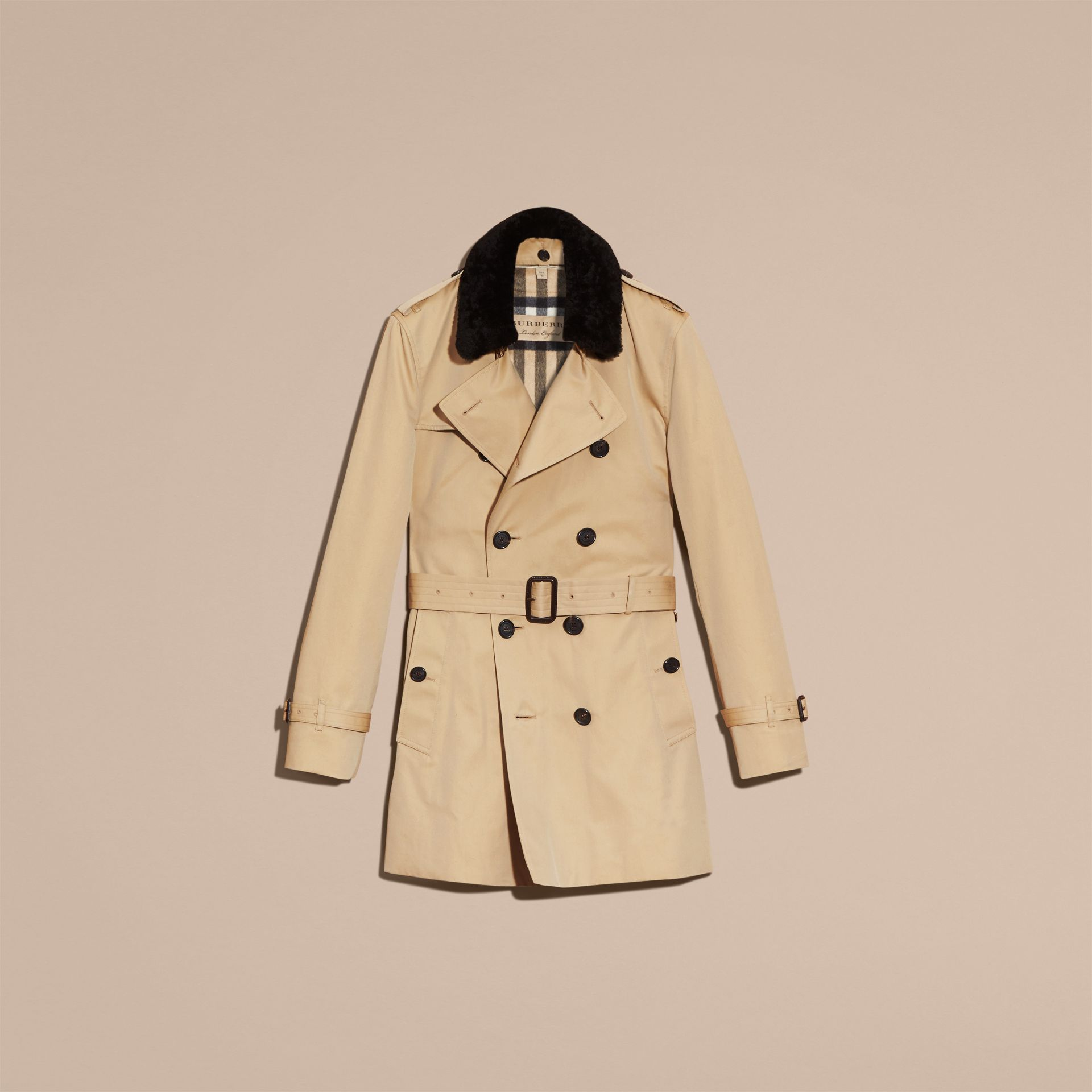 Detachable Shearling Topcollar Cotton Gabardine Trench Coat with Warmer in Honey - gallery image 4
