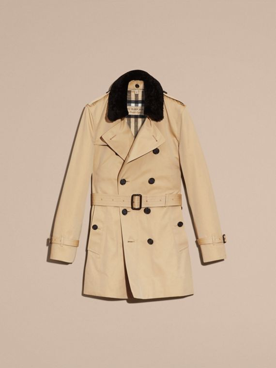 Detachable Shearling Topcollar Cotton Gabardine Trench Coat with Warmer in Honey - cell image 3