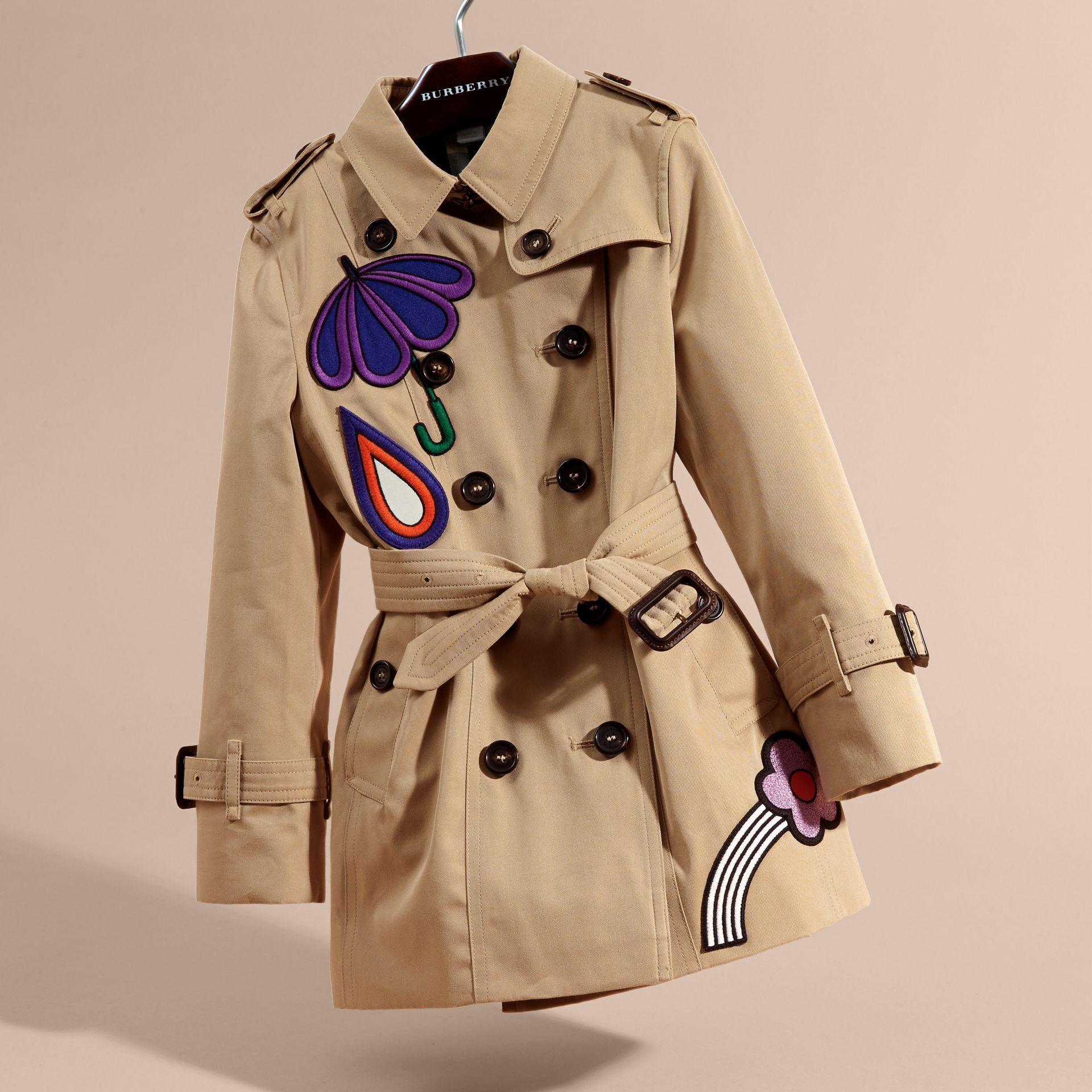 Appliquéd Weather Motif Cotton Trench Coat - gallery image 3