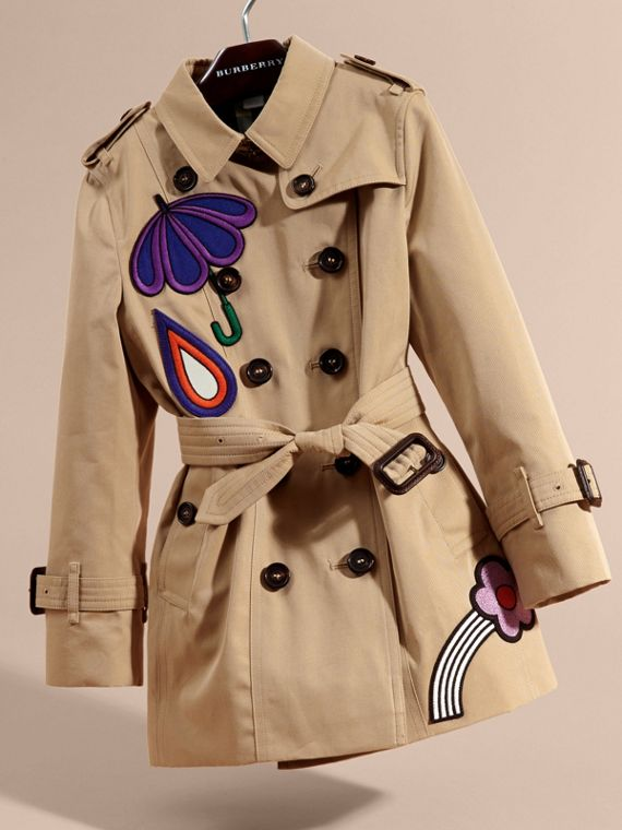 Honey Cotton Trench Coat with Embroidered Weather Appliqués - cell image 2