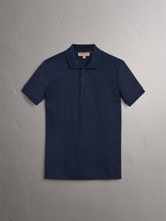 Embroidered Detail Cotton Piqué Polo Shirt in Navy - Men | Burberry - cell image 3