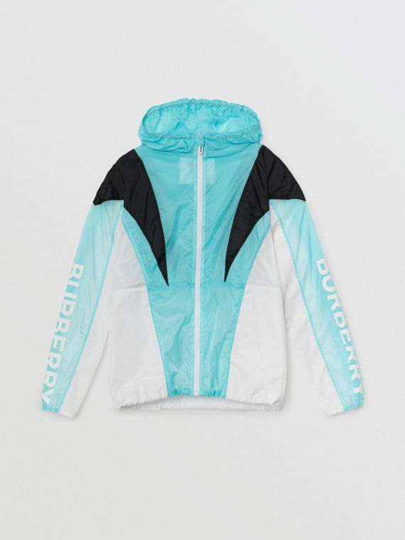 Tri-tone Lightweight Hooded Jacket in Pale Turquoise