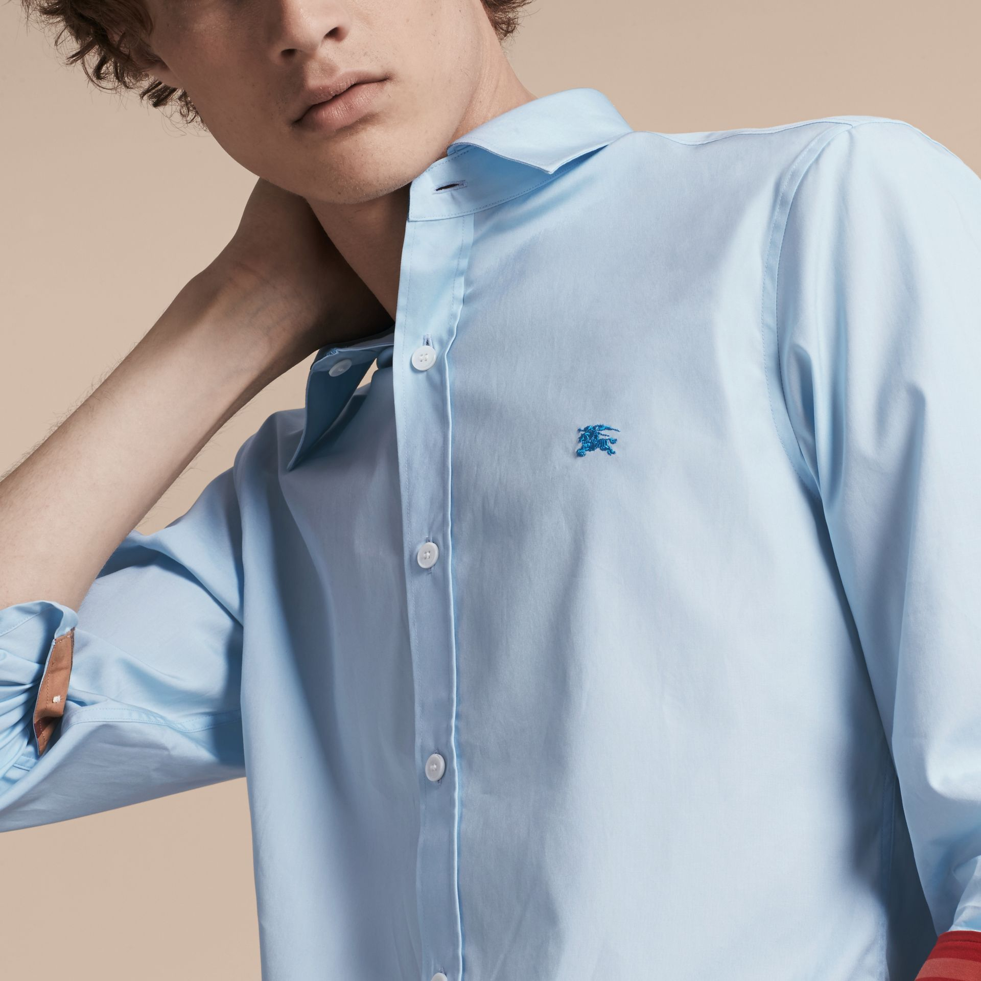 Check Detail Stretch Cotton Shirt in Pale Blue - gallery image 5
