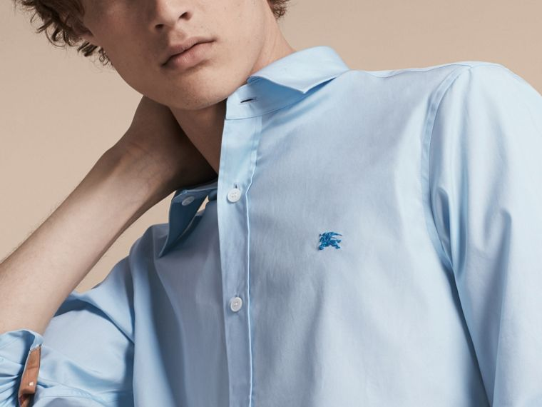 Check Detail Stretch Cotton Shirt in Pale Blue - Men | Burberry - cell image 4