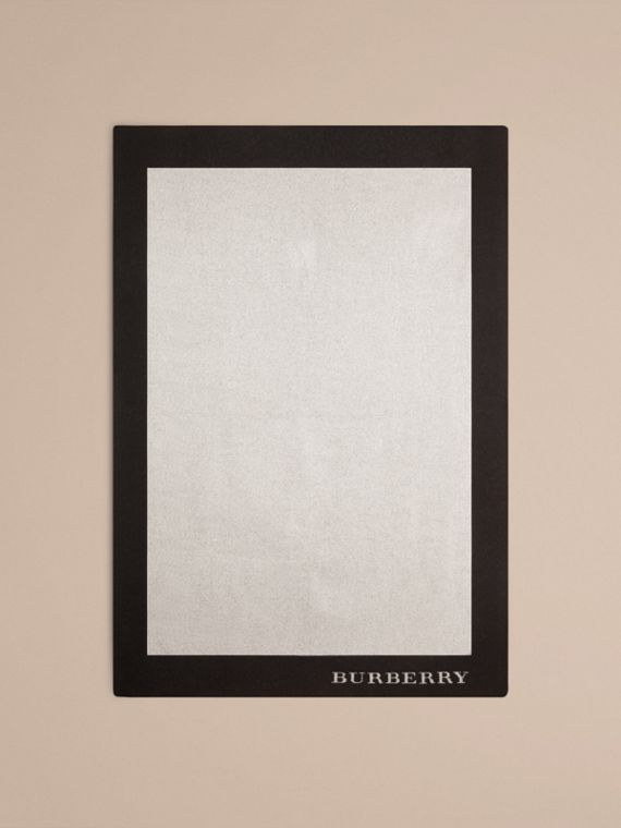 Contrast Border Wool Cashmere Blanket in Black/white | Burberry - cell image 2