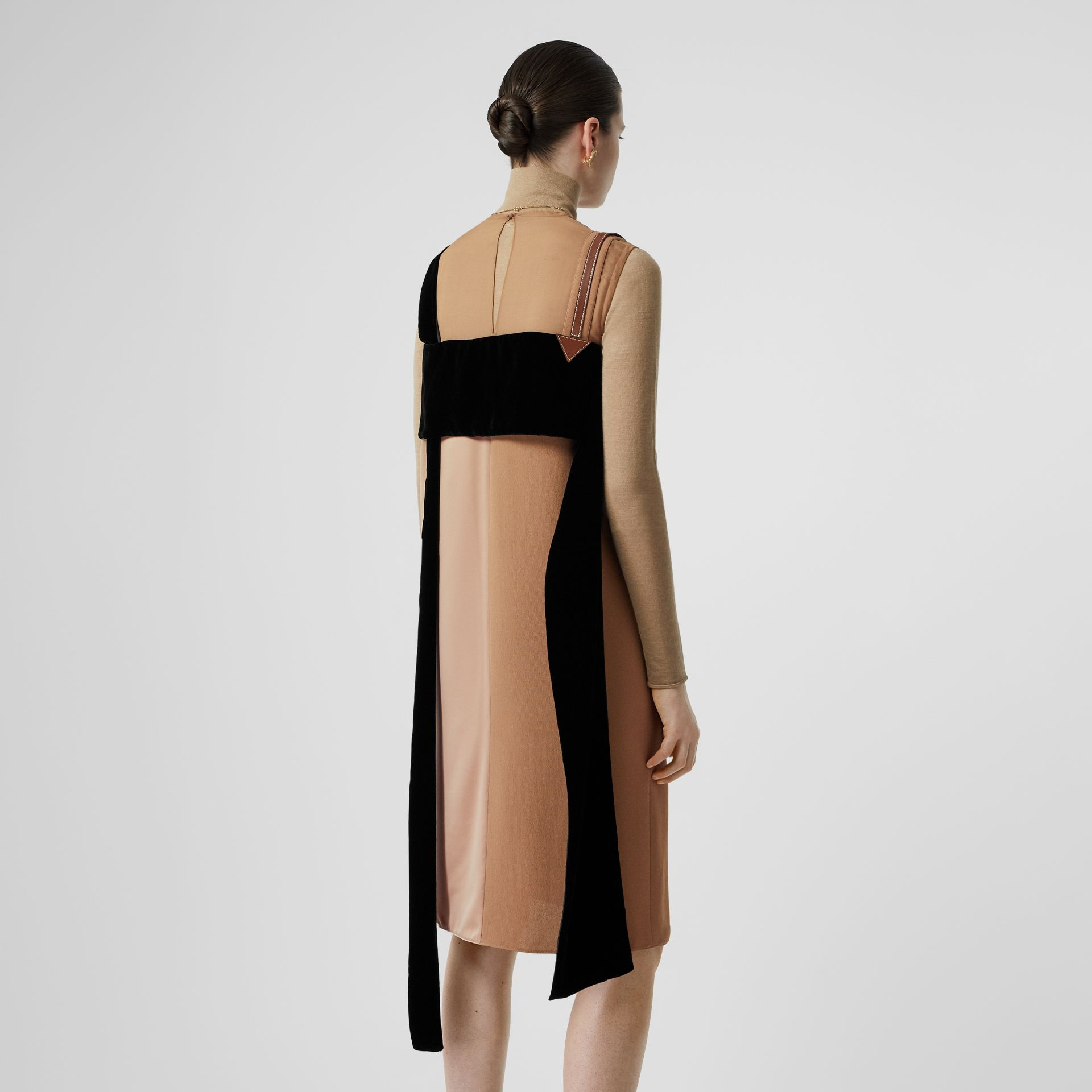 Strap Detail Panelled Silk and Velvet Dress in Biscuit - Women | Burberry Singapore - gallery image 2