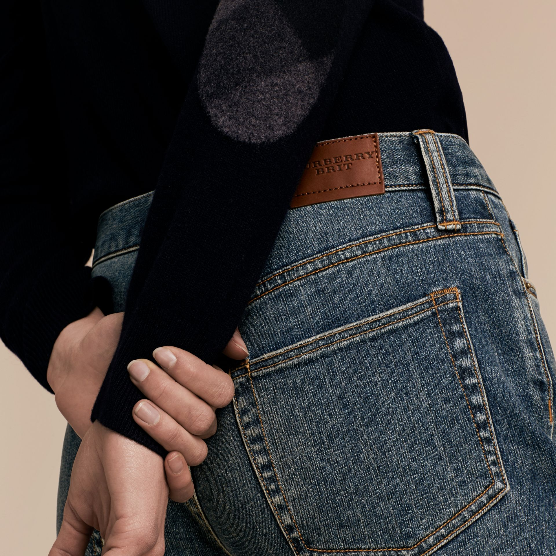 Relaxed Fit Mid-Indigo Jeans - Women | Burberry - gallery image 6