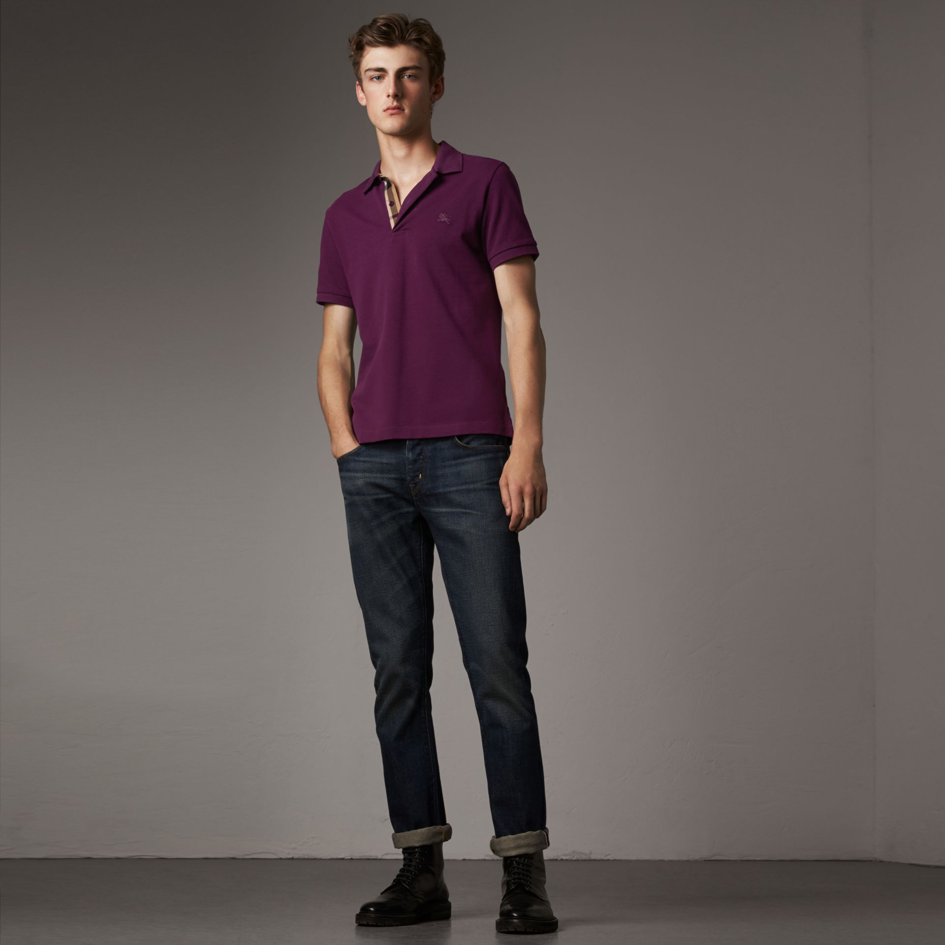 Check Placket Cotton Piqué Polo Shirt in Deep Purple Amethyst - Men | Burberry United Kingdom - gallery image 0