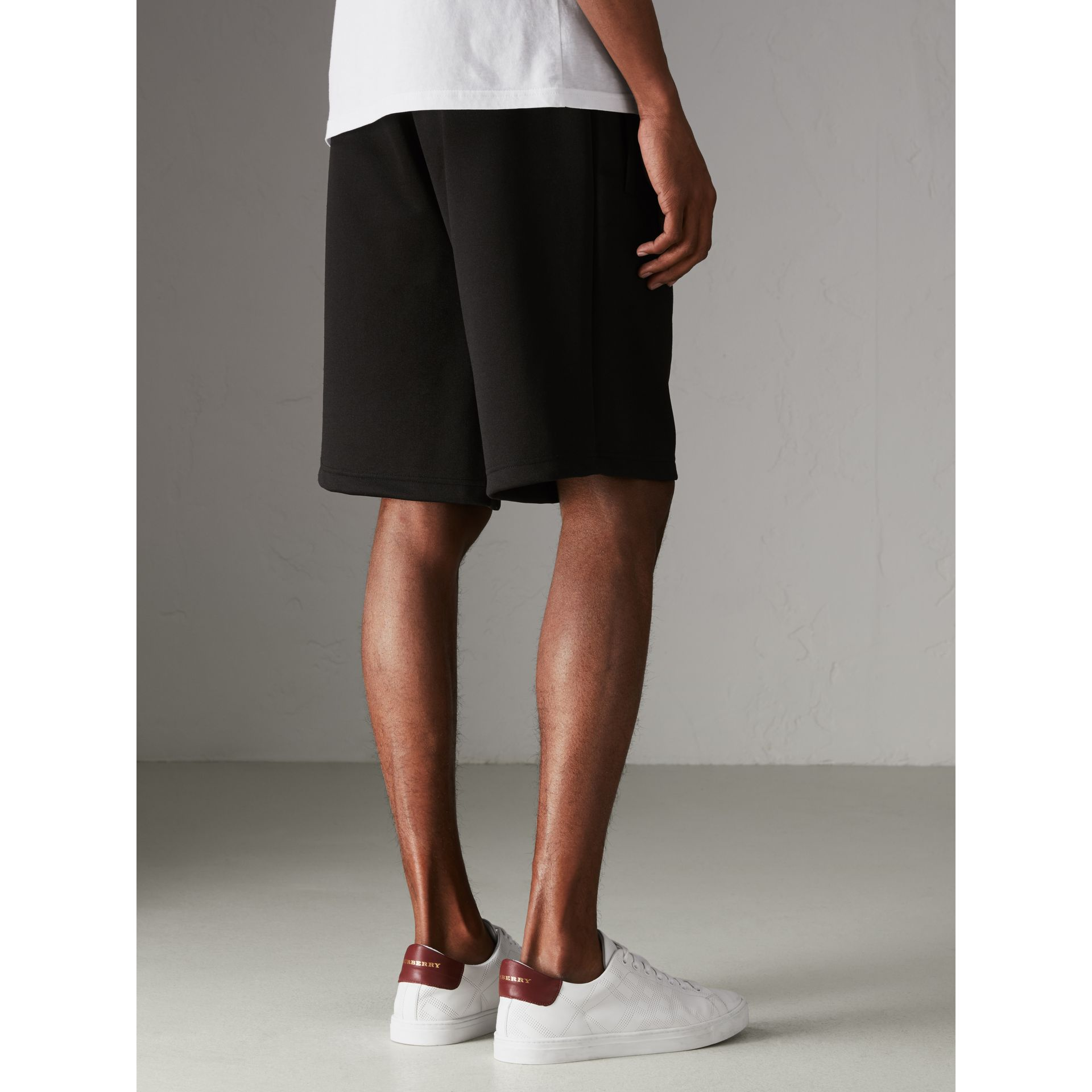 Cotton Blend Drawcord Shorts in Black - Men | Burberry - gallery image 2