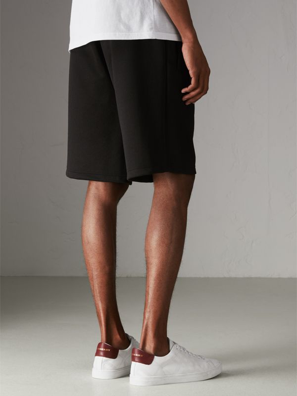 Cotton Blend Drawcord Shorts in Black - Men | Burberry Australia - cell image 2
