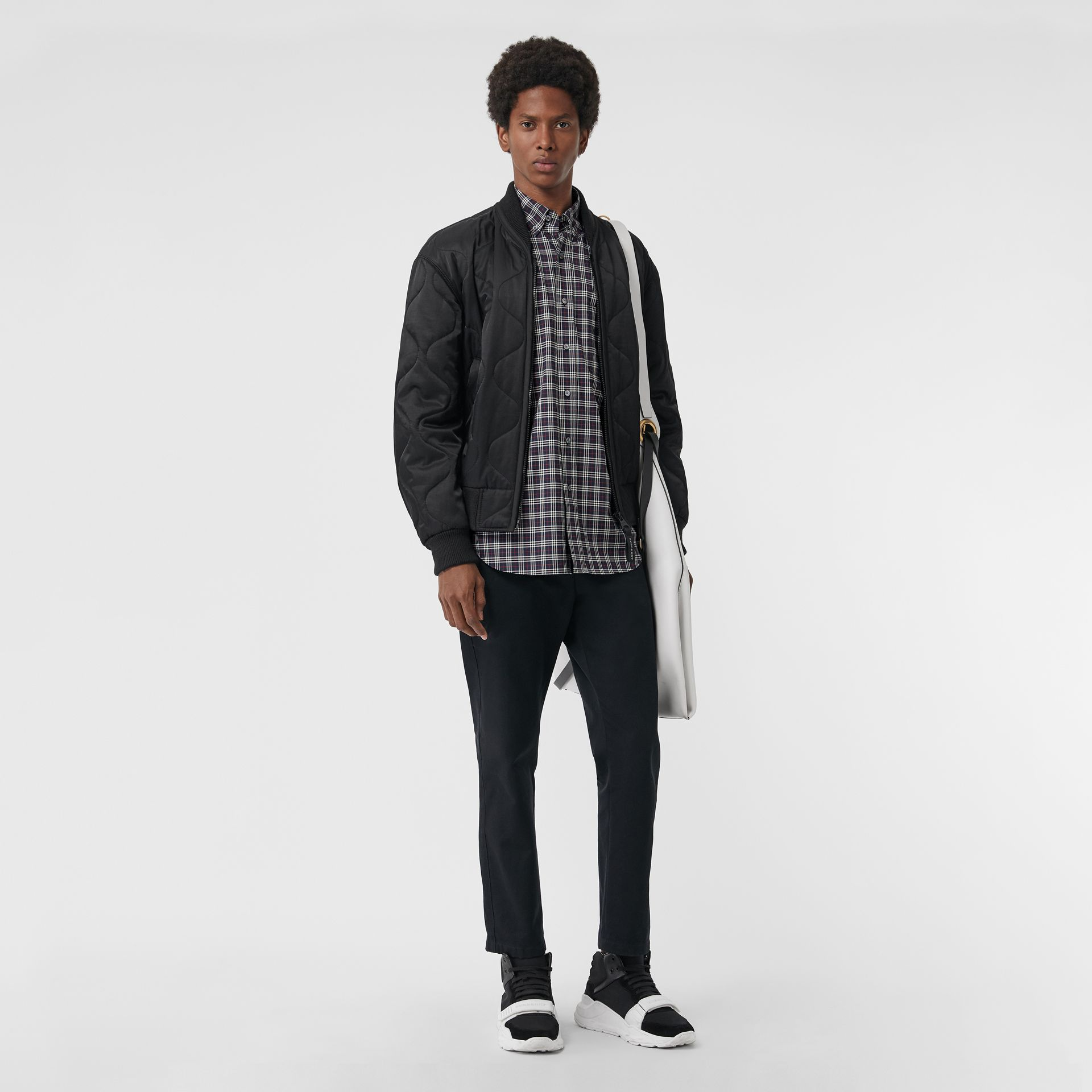Small Scale Check Cotton Shirt in Navy - Men | Burberry Canada - gallery image 4