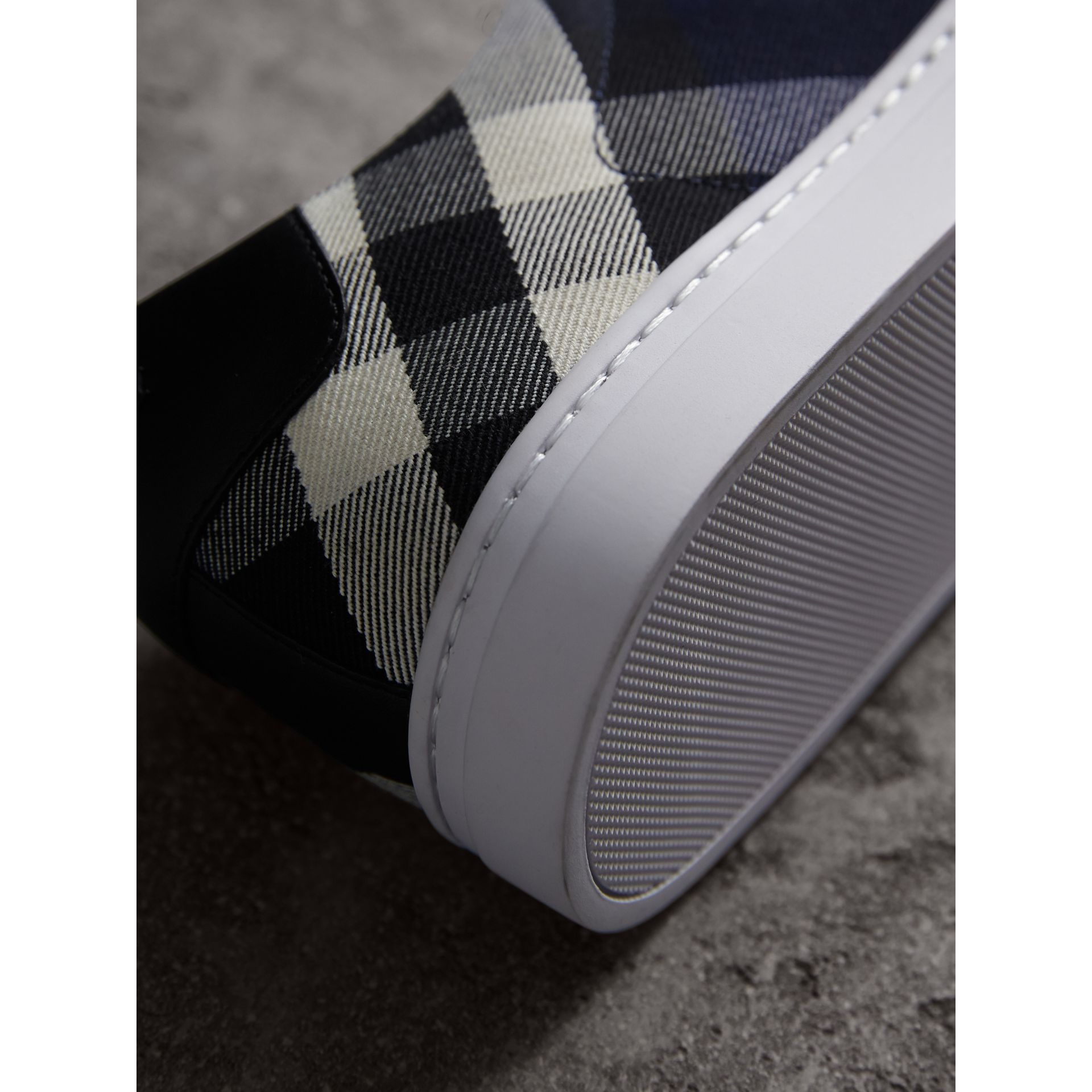 Overdyed House Check Cotton Trainers in Indigo Blue/black - Men | Burberry - gallery image 2