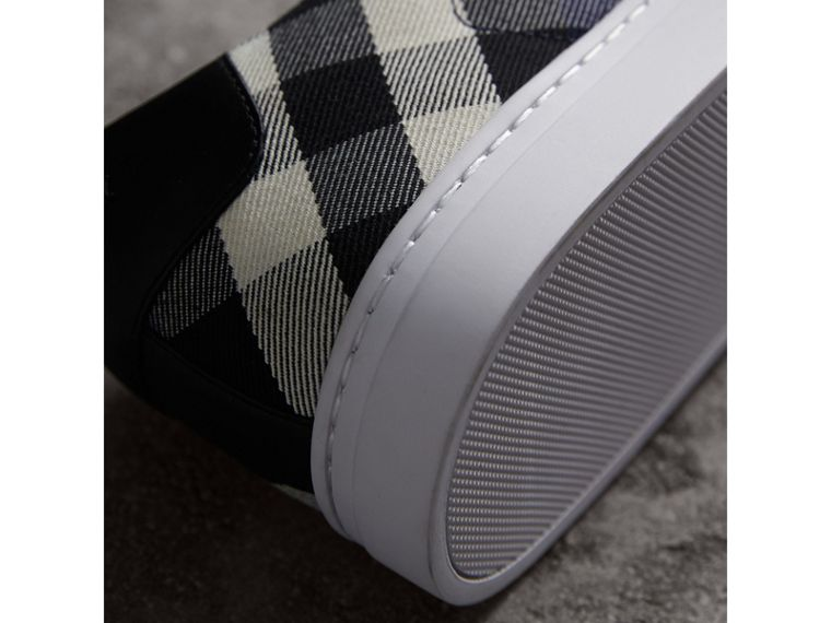 Overdyed House Check Cotton Trainers in Indigo Blue/black - Men | Burberry - cell image 1