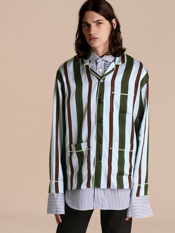 Pyjama Stripe Silk Cotton Pyjama-style Shirt