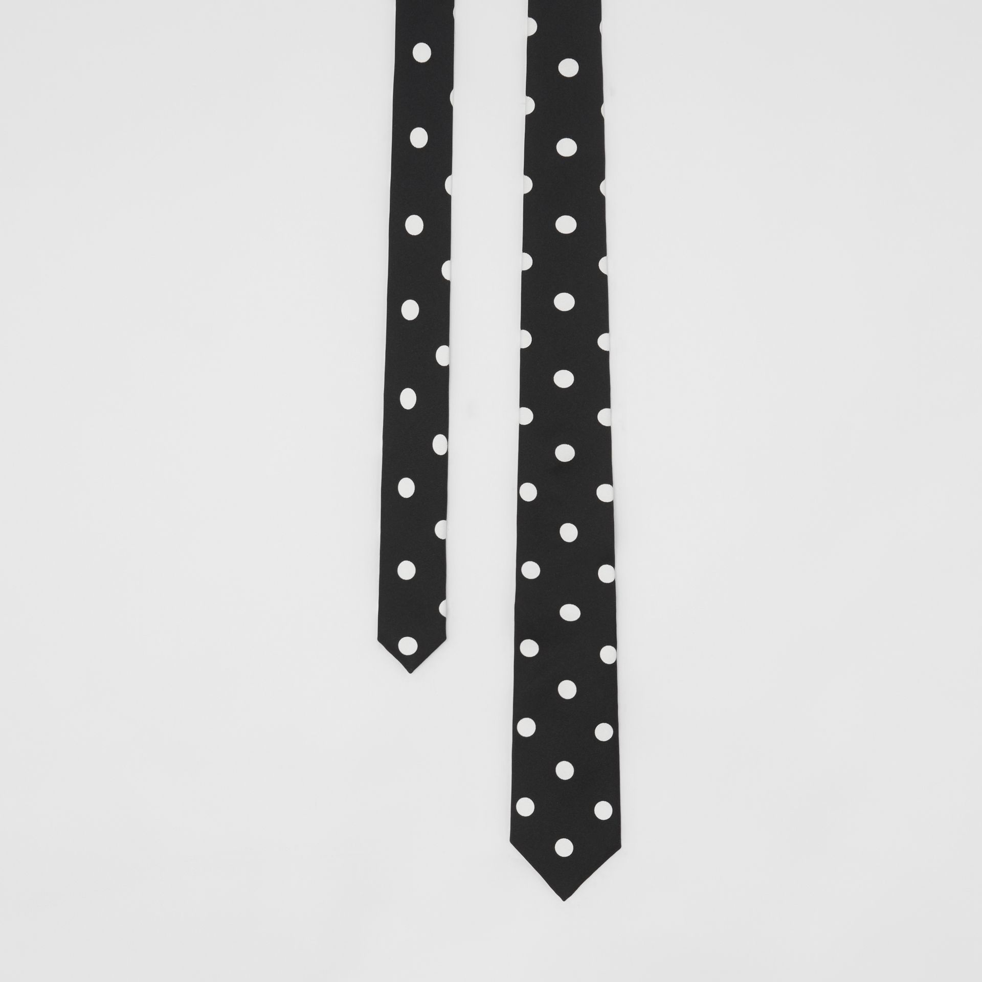 Slim Cut Spot Print Silk Tie in Black - Men | Burberry - gallery image 0