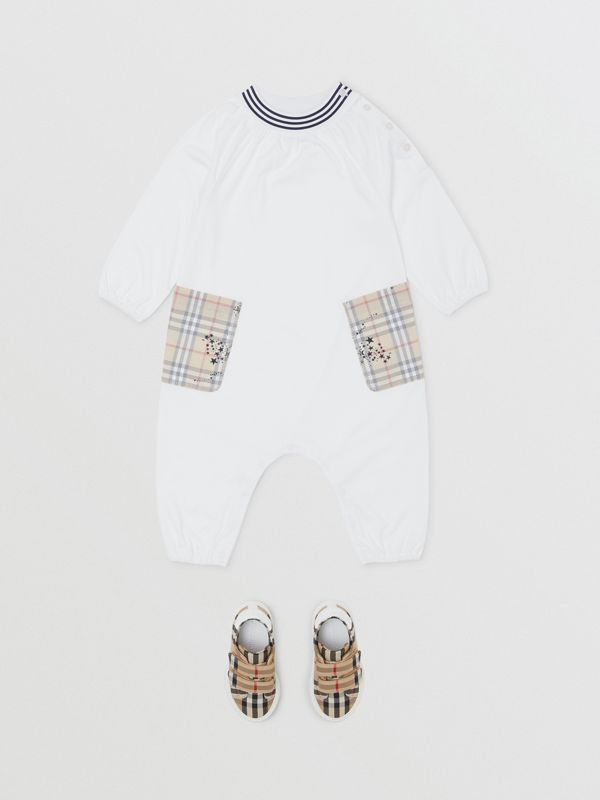 Star Print Check Trim Cotton Jumpsuit in White - Children | Burberry Hong Kong S.A.R - cell image 2