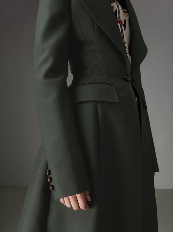 Crested Button Wool Tailored Coat in Racing Green/bright Navy - Women | Burberry United Kingdom - cell image 1